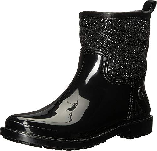 Michael Kors Rain Boots - Michael Kors Blakely Rainbootie,PVC/Chunky Glitter/Black,Size 10