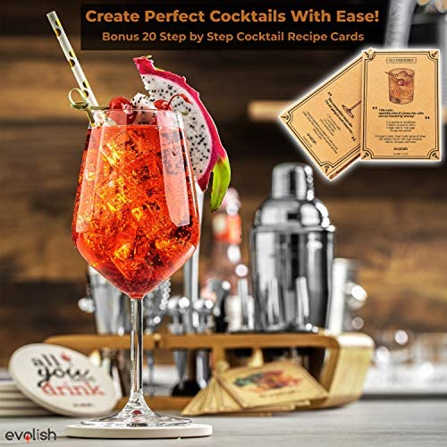 Bar Set Cocktail Shaker Set for Home: 25 Piece Mixology Bartender Kit With Stand | Ideal Gift Bartending Set for an Amazing Drink Mixing Experience | Bar tool set with Recipes & Coasters by Evolish 51ujueyotBL