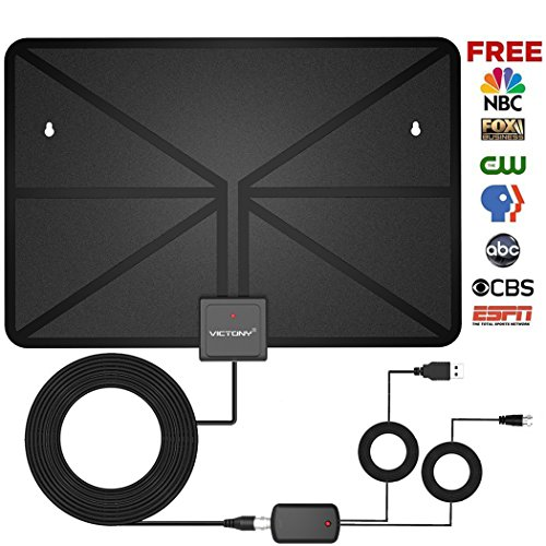 Amplified Indoor Hdtv Antenna (VICTONY HD Digital TV Antenna,Indoor Amplified HDTV Antenna 60 Mile Range with Detachable Amplifier Signal Booster and 16.5 Feet Coaxial Cable - Support All Formats)