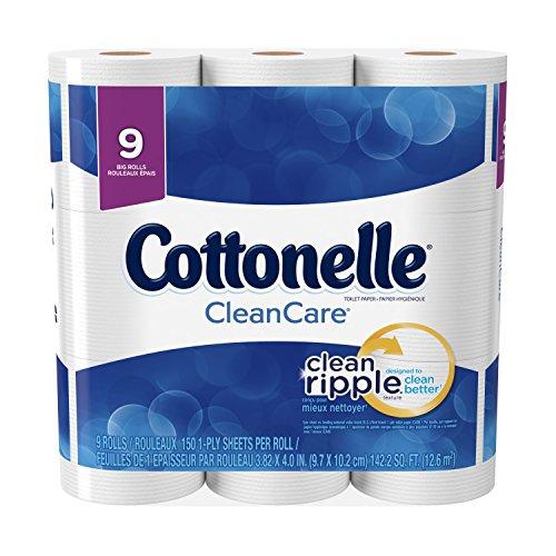 Cottonelle CleanCare Toilet Paper, Strong Bath Tissue, 9 Big Rolls