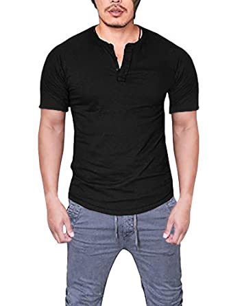 08a120f5 Daomumen Mens Henley T-Shirts Long Sleeve Crew Neck with Button Slim Fit  Plain Color Cotton Tops at Amazon Men's Clothing store: