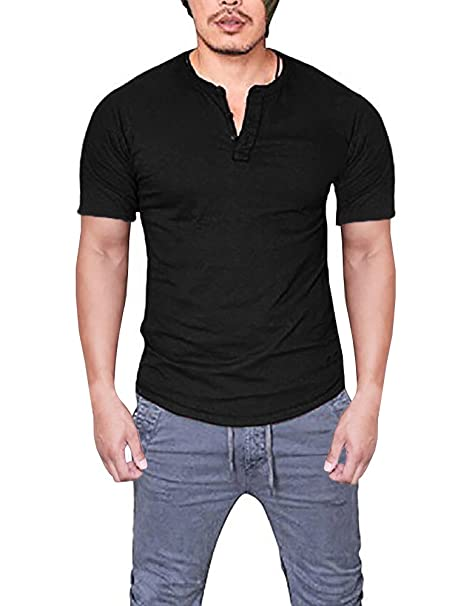 6daa198bf2 Daomumen Mens Henley T-Shirts Long Sleeve Crew Neck with Button Slim Fit  Plain Color Cotton Tops
