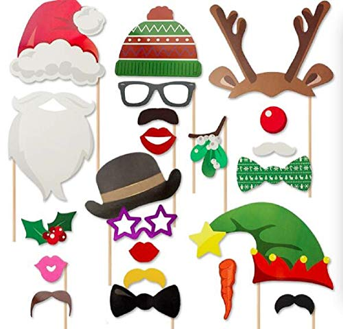 Christmas Photo Booth Props 23pcs Xmas Photo Booth for Christmas Dress Up Costumes with Accessories on a Stick