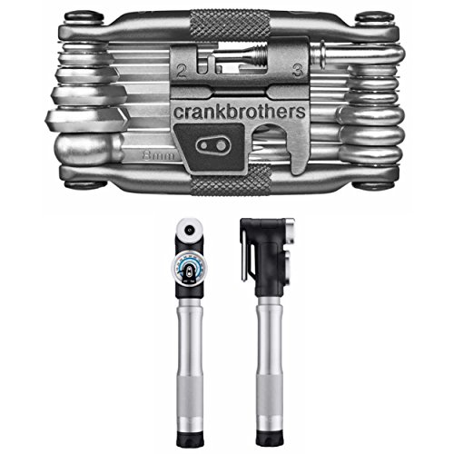 CRANKBROTHERs Sterling SG Compact Bike Pump (Only 141 Grams) and M19 Multi Bicycle Tool Kit ()