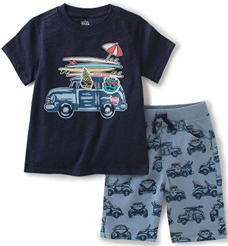 - Kids Headquarters Little Boys 2 Pieces Jersey Tee Short Set, Blue, 6