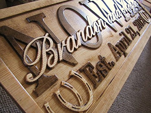 Personalized Family Name Horseshoes Signs CARVED Custom Wooden Sign Last name Wedding Gift Established Anniversary custom personalized sign
