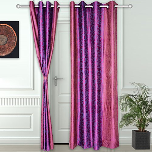 Story@Home Nature Superior Abstract Eyelet 2 Pieces Polyester Door Curtains, 7 ft, Pink