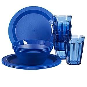 Cambridge Plastic Plate, Bowl and Tumbler Dinnerware   12-piece set Blue