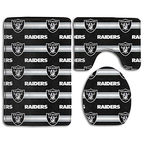 zhong-LRS.guo !!! Custom Colorful Doormat American Football Team Oakland Raiders Indoor Bathroom Anti-Skid Mats,3 Piece Non-Slip Bathroom Rugs,Non-Slip Mat Bath + Contour + Toilet Lid (Oakland Raiders Pet Mat)