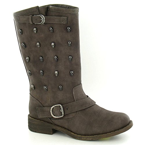 Low Straps Boot Brown Skull On Spot Calf Studs Buckle Heel 5WYAnq41
