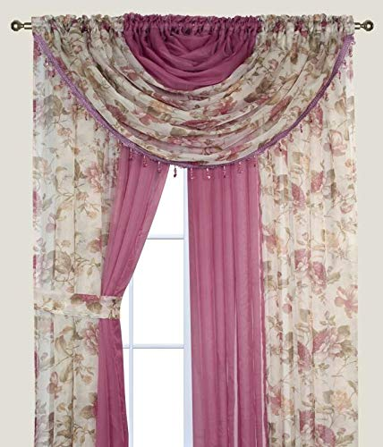 Complete Window Sheer Voile Curtain Panel Set with 4 Attached Panels (55x84 Each) and 2 Attached Valances with Beads and 2 Tiebacks - Easy Installation - Multicolor Floral Rose and Solid Pink (Curtains Sale)