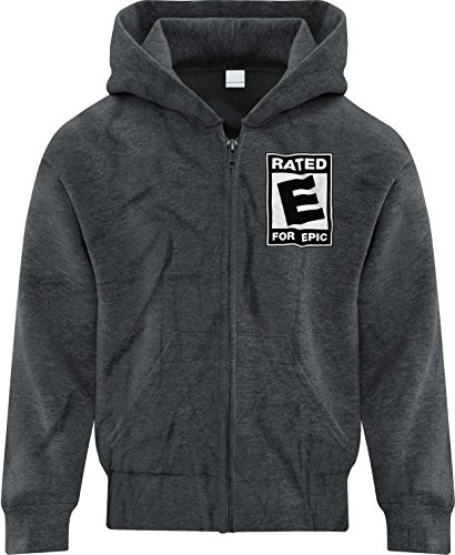 Price comparison product image BSW Girl's Rated E for Epic ESRB Video Entertainment Logo Zip Hoodie XL Drk Hthr