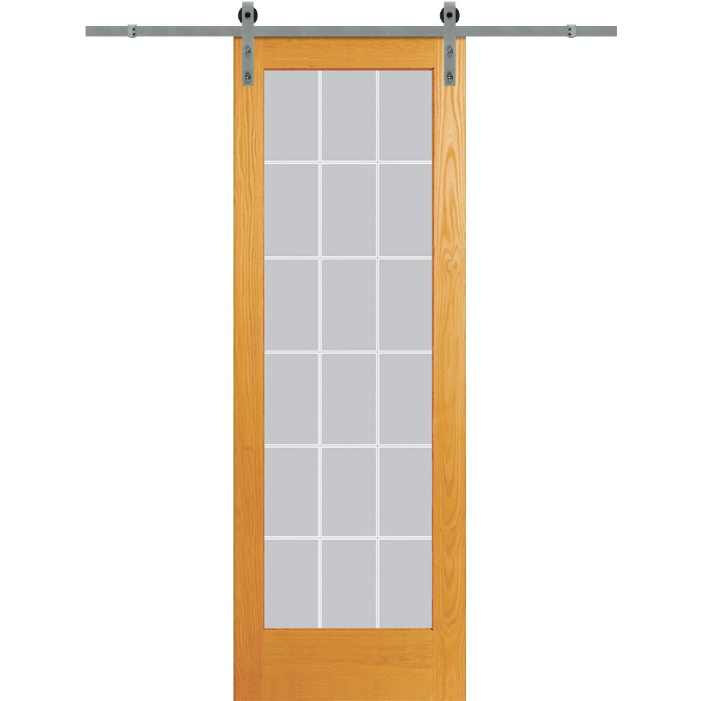 National Door Company Z020157 Barn Door Unit, Unfinished Pine Wood, 18 Lite, V-Groove Clear Glass, 30'' x 96''