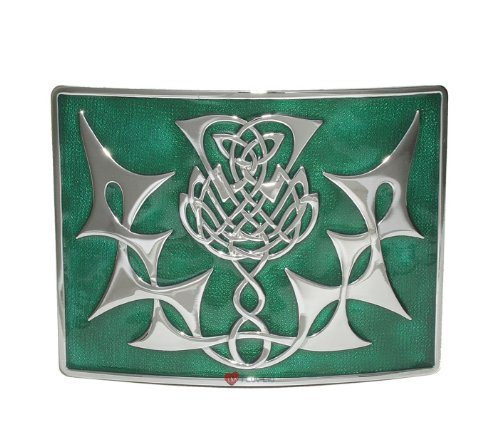 Highland Thistle Kilt Belt Buckle Green Chrome I Luv LTD