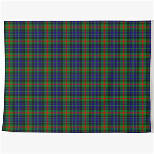 (AlliuCoo Tapestry Home Decor 60 x 50 Inches Retro Ed Tile Clan Vintage Gunn Tartan Abstract Plaid Tapestries Wall Hangings Art for Bedroom Living Room)