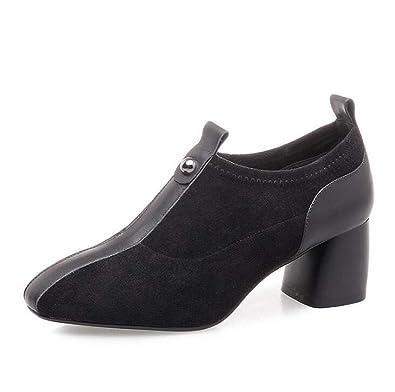 Frauen Hochhackige Square-Toe Schuhe Low Rise Einzelne Schuhe Cross Strap Schuhe Schwarz/Braun/Grün Größe 34-39 (Farbe : Grün, Größe : 39) MYI
