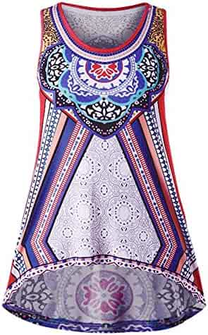 82551216291 Women Tank Tops,TWinmar Summer Casual Print Sleeveless Vest Irregular Plus  Size T-Shirt