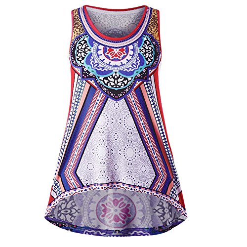 Women Tank Tops,TWinmar Summer Casual Print Sleeveless Vest Irregular Plus Size T-Shirt Tunic Cami Tees S-XXXXXL (Purple 2, M)