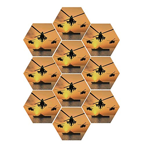 YOLIYANA War Home Decor Durable Hexagon Ceramic Tile Stickers,Battle Helicopter Over The Ocean Sea and Aircraft Carrier on Combat Art Photo for Living Room Kitchen,9