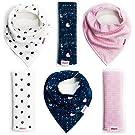 Baby Bandana Bibs and Burp Cloths | Girl 6 Pack | Soft Organic Cotton | Cute Bandana Bib with Snaps