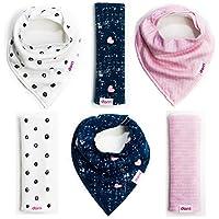 Baby Bandana Bibs and Burp Cloths | Girl 6 Pack | Soft Organic Cotton | Cute ...