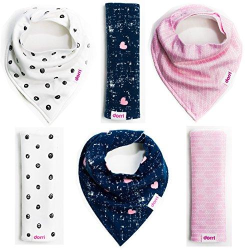 Baby Bandana Bibs and Burp Cloths - Girl 6 Pack - Soft Organic Cotton - Cute Bandana Bib with Snaps -