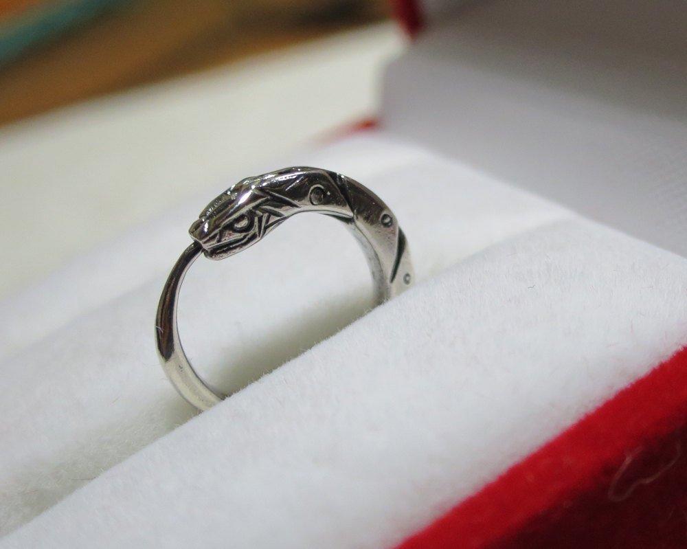 Ouroboros snake earring for men sterling silver white or black 0.5 inch (12 mm) handcrafted men earrings