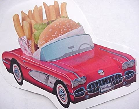 6 Classic Cardboard Cars Food Dish Tray Party Planner (Corvette Planner)