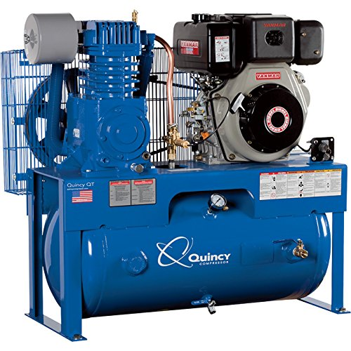 Quincy QT-7.5 Splash Lubricated Reciprocating Air Compressor - 10 HP Yanmar Diesel Engine, 30-Gallon Horizontal, Model Number D207Y30HC