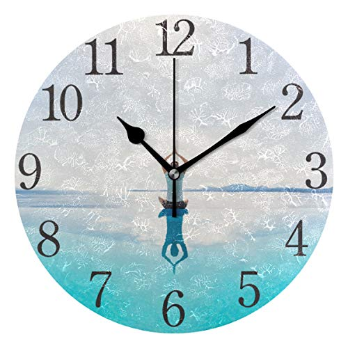 (senya Wall Clock Silent 9.5 Inch Battery Operated Non Ticking Yoga Lotus Pose at Ocean Beach Round Decorative Acrylic Quiet Clocks for Bedroom Office School Home by domook )