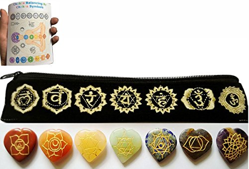 Embroidered Jewel - Heart Reiki Chakra Stones w/ Chakra Symbol Embroidered Case Set of 7 Chakra Stones with Engraved Chakra.....