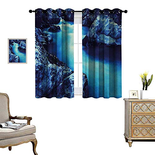 Waterfall Thermal Insulating Blackout Curtain Frozen Dangerous Lake with Atmosphere of a Cave and Snow on The Rocks Nature Patterned Drape for Glass Door W55 x L45 Blue and ()