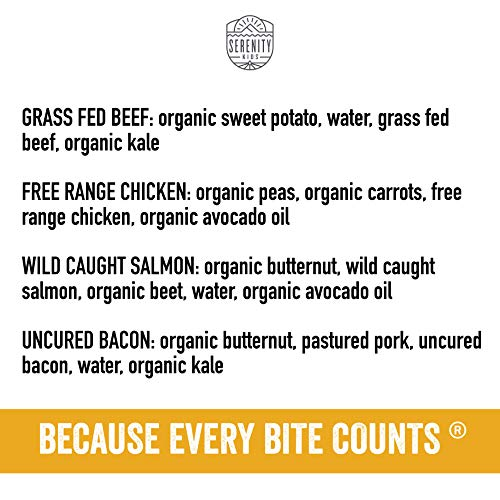 Serenity Kids Baby Food, Ethically Sourced Meats Variety Pack with Wild Caught Salmon, Free Range Chicken, Uncured Bacon and Grass Fed Beef, For 6+ Months, 3.5 Ounce Pouch (8 Pack)