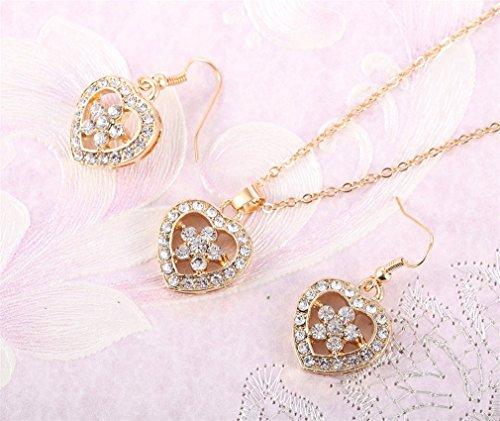 2 Pc /Parure Bijoux Hypoallergénique Elégant Cristal Clair Pendentif Coeur Boucle D'Oreille Clou Collier Ensemble - Plaque Or