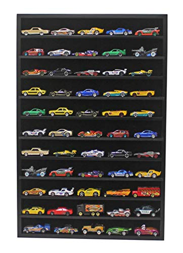 Hot Wheels Matchbox 1/64 Scale Model Cars Display Case Cabinet - No Door (Black) HW10-BL