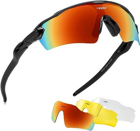 BAT FOX Gafas de Sol polarizadas Deportivas, Lente HD, Patas de Silicona para Hombres y Mujeres, béisbol, Correr, Ciclismo, Pesca, conducción, Golf, Softball, Senderismo, Negro: Amazon.es: Deportes y aire libre