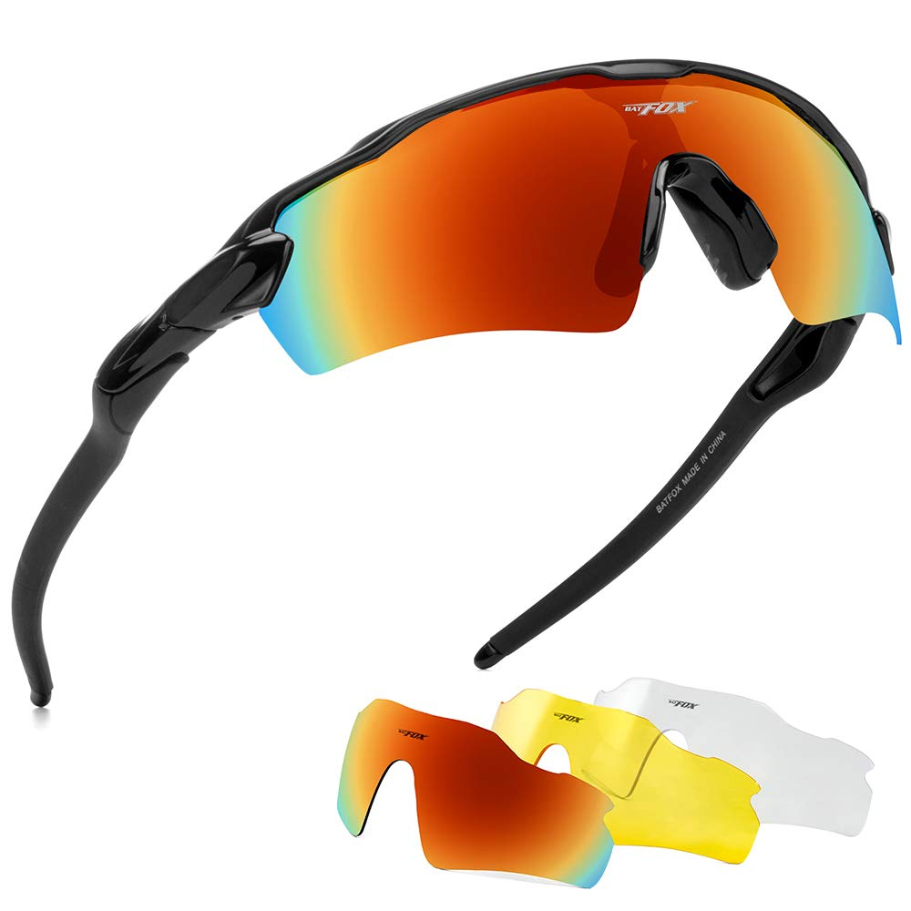 BATFOX Polarized Sports Sunglasses Glasses TAC Running Cycling Baseball Fishing Golf Softball Outdoor for Men Women Youth Interchangeable Lenses Tr90 Unbreakable Frame 100% UV Protection(Colorful) by BATFOX