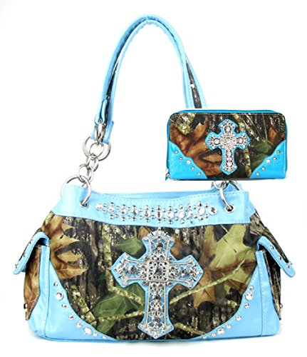 - Western Handbag Camouflage Cross Camo Rhinestone Purse With Matching Wallet (BLUE)