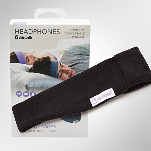 AcousticSheep SleepPhones Wireless | Bluetooth Headphones for Sleep, Travel & More | Flat Speakers | Rechargeable Battery Lasts Up to 10 Hours | Midnight Black - Fleece Fabric (Size ()