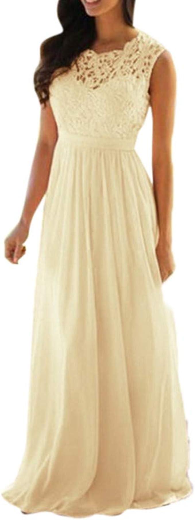 MAYOGO Festliche Kleider Damen Kleider Elegant Lang Cocktailkleid  Brautjungfernkleider Formelles Kleid Partykleid Spitzenkleid Spaghetti  Abschlussball