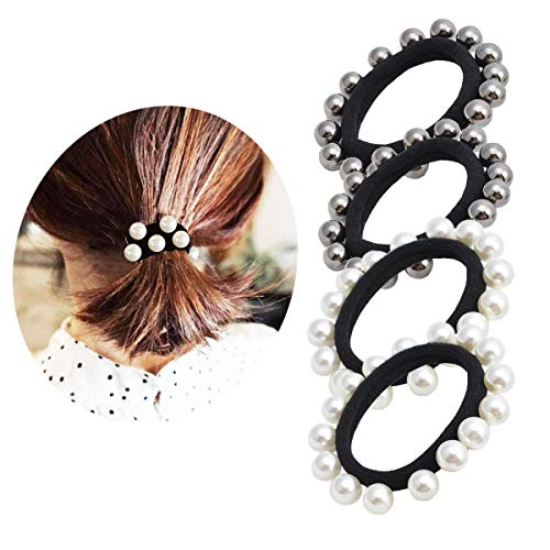 Pearl Elastic Hair Bands Cotton Stretch Hair Ties Ponytail Girl Headbands Hair Ropes-4Pcs 2Colors ()