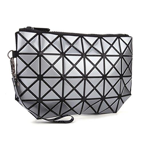 Fvstar TPU Women Cosmetic Makeup Bag Geometric Girls Wristlet Purse Lady Clutch Bag (Silver)