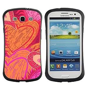 LASTONE PHONE CASE / Suave Silicona Caso Carcasa de Caucho Funda para Samsung Galaxy S3 I9300 / Pattern Love Valentines Pink Orange