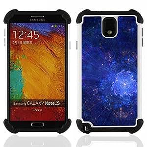For Samsung Galaxy Note3 N9000 N9008V N9009 - Universe Galaxy Stars Art Blue Cosmos Explosion /[Hybrid 3 en 1 Impacto resistente a prueba de golpes de protecci????n] de silicona y pl????stico Def/ - Supe