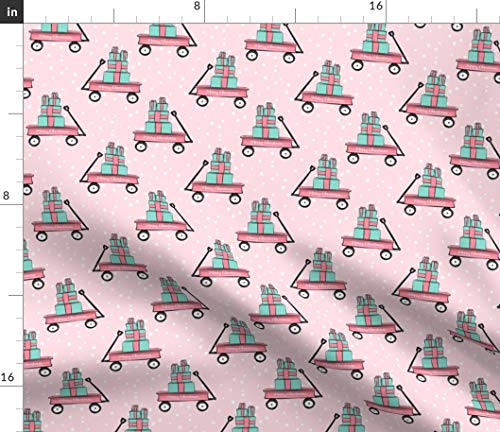 Spoonflower Pink Fabric - Merry Christmas Wagon On Presents Baby Girl Cute with Gifts Trendy Print on Fabric by The Yard - Basketweave Cotton Canvas for Upholstery Home Decor Bottomweight Apparel