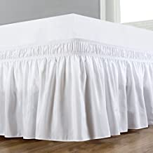 Wrap Around Bed Skirt Elastic Dust Ruffle Easy Fit Wrinkle and Fade Resistant Solid Color Hotel Quality Fabric (Queen, White)