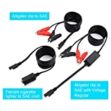 Cateck 12V / 24V Battery Clip-on Car Cigarette Lighter Socket Adapter with Voltage Regulator and Extension Cord with Cigarette Adapter [ 3 Cords for total- 6ft Per Cord- Max 14Am output SAE]