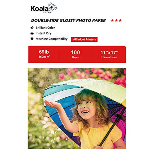 Heavyweight Glossy Inkjet (Koala Photo Paper 11''x17'' Heavyweight Double Sided High Glossy 100 Sheets 260gsm only Compatible with Inkjet Printer)