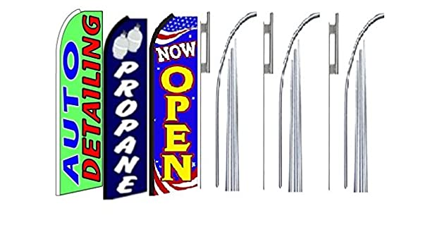 Pack of 3 Auto Detailing Propane Open King Swooper Feather Flag Sign Kit with Pole and Ground Spike