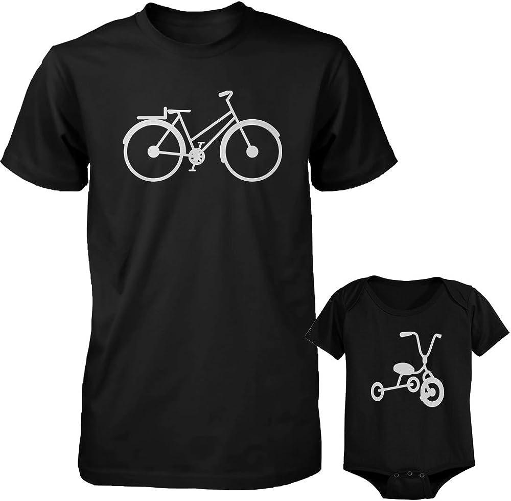 Bicicleta y Triciclo negro para papá y bebé a juego camisa y body